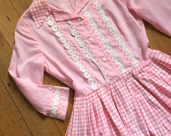 vintage 1960s dress // 60s pink cotton shirtwaist inspired dress