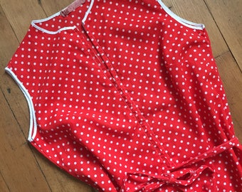 vintage 1960s polka dot dress // 60s red polka dot shift dress