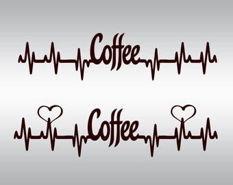 Coffee svg, Coffee Heartbeat svg, Heartbeat svg, Coffee, Iron on SVG Files, Cricut, Cameo, Cut file, Files, Clipart, Svg, DXF, Png, Pdf, Eps