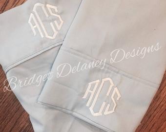 Monogrammed pillowcases, set of 2