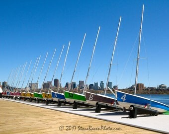 Sailboat - Boats - Boston - Cambridge - MIT Sailing Pavilion - FJ Class - Skyline - Charles River - Sailing - Photo - Photography - Print