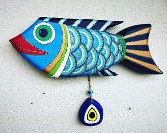 Wooden Fish Wall Art evil eye wall art | etsy