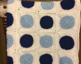 Polka Dot Crocheted Baby Blanket