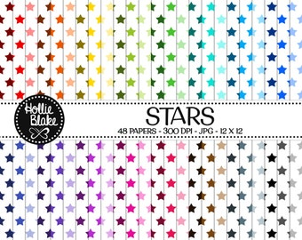 Buy 1 Get 1 Free!! 48 Stars Digital Paper • Rainbow Digital Paper • Commercial Use • Instant Download • #STARS-101-1