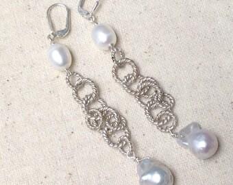 White Baroque Pearl silver Chain dangle chandelier duster earrings