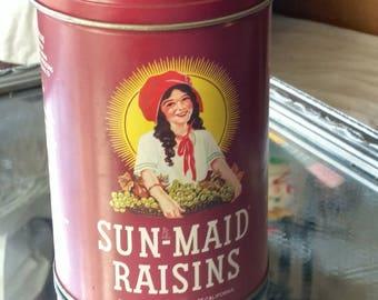 Vintage Sun-Made Raisins Tin Container