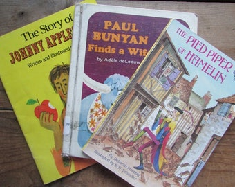 Children's Book Set Johnny Appleseed Pied Piper Paul Bunyan Takes A Wife CLassic Fables and Folk Tales