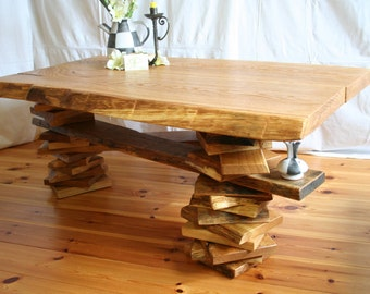"Tripod - coffee table ""Wild oak"" tree edge"