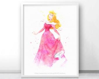 Sale off Fan art Disney princesses, disney princess print Aurora Sleeping beauty disney watercolor art print digital file