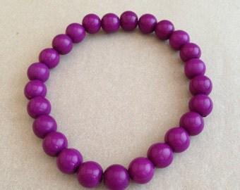 Vintage Purple Plastic Bead Bracelet