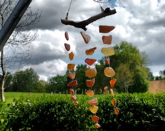 Shades of amber sea-glass suncatcher mobile