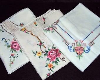 3 Vintage Cross Stitch Rose Motif Tablecloths