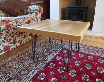 Hand-made Solid Oak Coffee Table with Hairpin Legs