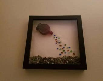 From Bottle to Beach-9x9 framed-Beach Glass and other natural elements complete this piece of art