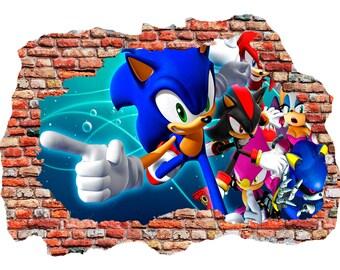 Sonic The Hedgehog Wall Sticker, Self Adhesive Vinyl
