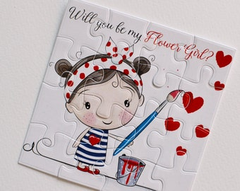 Will You Be my Flower Girl, Flower girl puzzle, Flower girl card, Cute girl card, Asking flower girl, Will you be my, Personalized gift