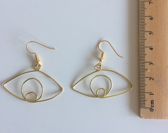 Eye Wire Earrings Handmade gold/bronze