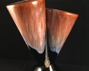 Double Horn vase – pottery – Lava style / sheer