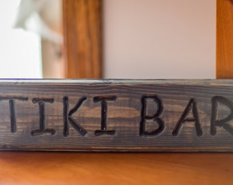 Tiki bar decor, bar sign, lake house decor, custom wood sign, personalized wood, carved wood, house warming gift, party decor, pallet sign