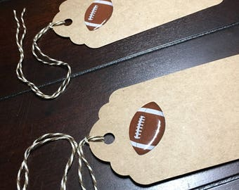 Football Favor Tags, Boy Football Baby Shower, Footballs and Helmets, Touchdown Gift Tags, Goodie Bag Tags- 6 per order