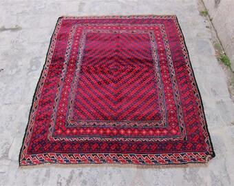 Vintage Soumac Kilim Rug ''4'' x 4'6'' feet (124 cm x 142 cm) Vintage Turkish Kilim, Kilim, Kilim Rug