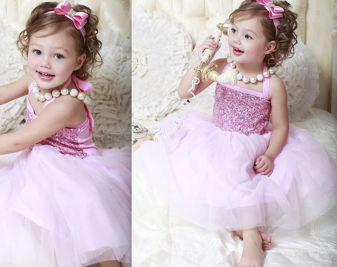 Pink Baby Girls Tulle and Sequine Dress, PICK COLOR: Turquoise, Royal Blue, Red, Pink, Champagne, Aqua, baby girls tutu dress