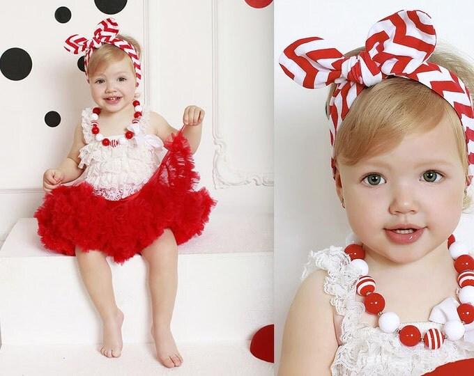 SALE! Baby Girls 4 pcs set, white romper, red tutu, chunky necklace, chevron headband wrap, Valentine's, cake smash, headband, baby girls