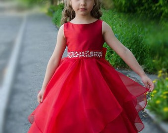 Gorgeous Red Flower Girl Dress With Rhinestones