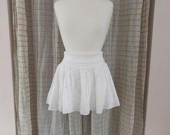 1980s mini party skirt cotton white with tiny hearts/medium