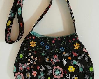 Black floral shoulder bag - Hobo bag - Tote bag -  Shoulder bag - Tote bag - Handmade bag - Black shoulder bag - Hippie bag - Tote handbag