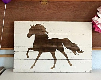 """Barn Wood Horse Silhouette Sign 36""""x21"""""""