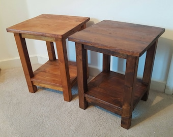 Solid Rustic Wood Side Table (Reclaimed Wood)