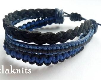Black Blue Boho Bracelet Men's Bracelet, Mens Jewelry, gift for him, bracelet adjustable bracelet cord bracelet for man bracelet Boyfriend