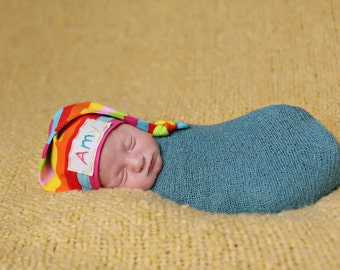 rainbow baby hat, personalized baby hat, hospital hat, rainbow baby gift, baby monogrammed hat, newborn girl hat, baby hat