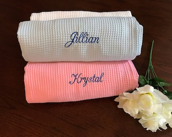 Monogrammed Set of Four Bath Wrap, Spa Wrap, Towel Wrap, Waffle Towel Wrap, Monogram Towel Wrap