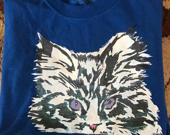Le bay bay original printed blue cat shirt