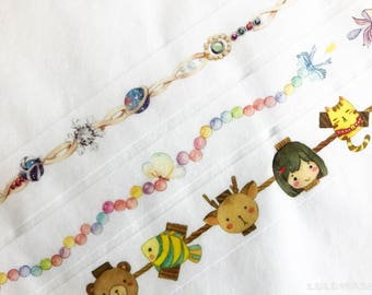 Samples - washi tape samples daily inspirations deco wire crystal bracelet chain / rainbow pearl ribbon / animal rope clip 60cm <Z114>