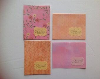Watercolor Pink & Orange Greeting Card Set