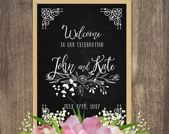DIY chalkboard sign, Rustic chic wedding decorations, Wedding chalkboard designs, Rustic welcome sign, Custom chalkboard signs for wedding