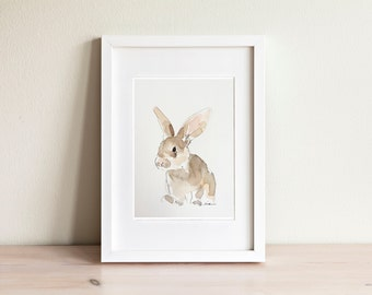 Rabbit watercolor illustration - handmade