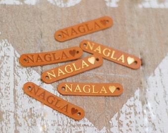 Personalisierte handgemachte natürliche Leder-Etiketten-Set von 10 / Branding Tags für handgemachte / Branding Borte / Leder-Patches Handwerk Label Tag