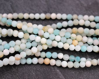 4mm Natural Frosted Amazonite Beads, Round - Full Strand or Half Strand