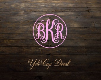 Yeti Cup Decal, Monogram Decal, Personalized Sticker,Name Decal,Preppy,Vine Monogram, RTIC Cup Sticker, Tumbler, Personalized Monogram Decal