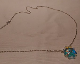 Silver necklace 925 with Swarovski pendant in clover shape