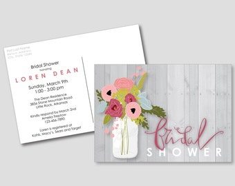 PRINTABLE Bridal Shower Invitation Postcard | Floral, Postcard, Mason Jar, Rustic, Bohemian Garden, Bridal Shower, Anemone