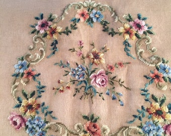 PAIR of preworked needlepoint canvases suitable for chair covers - Petit Point