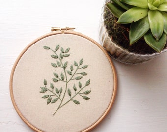 Plant embroidery hoop art