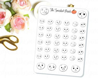 Smushie Emoticons  - Hand Drawn Planner Stickers