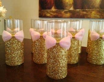 12 Pink and Gold Baby Shower, Wedding Centerpiece Bridal shower, Quinceanera, Centerpieces, Vases