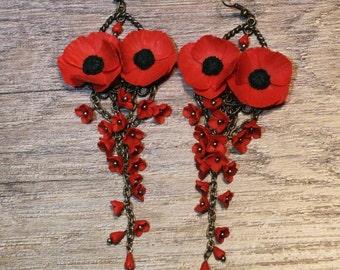 Red Poppy earrings, Poppy Jewelry, Red Flower earrings, Red earrings,Floral Jewelry,Gift for Women,Handmade floral jewelry, Poppies earrings